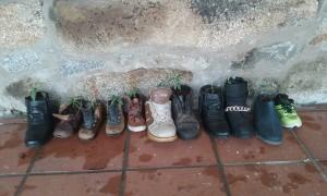 Botas plantadas por los niños.